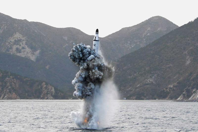 A test-fire of a strategic submarine ballistic missile in Pyongyang on April 24, 2016.