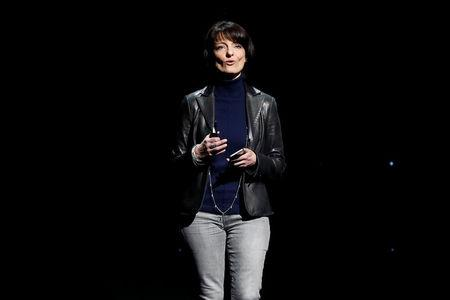 Regina Dugan, vice president of engineering of Building 8 at Facebook, speaks on stage during the second day of the annual Facebook F8 developers conference in San Jose, California, U.S., April 19, 2017. REUTERS/Stephen Lam