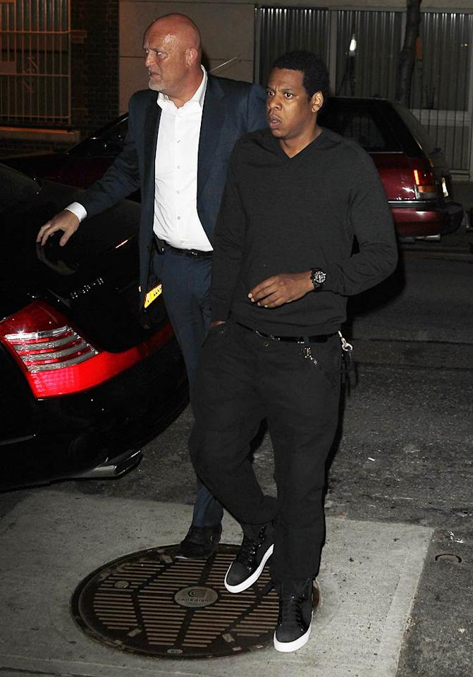"""Jay-Z wasn't about to miss Gwyneth's home cooking! <a href=""""http://www.infdaily.com"""" target=""""new"""">INFDaily.com</a> - April 1, 2011"""