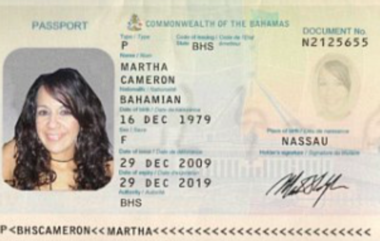 A passport says the woman is from the Bahamas (Grab)