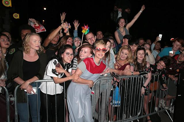 "<p>Katy Perry posed with her fans following a private performance at the Water Rats club in London, where she <a href=""https://www.yahoo.com/celebrity/katy-perry-chokes-dedicating-song-225100943.html"" data-ylk=""slk:got emotional;outcm:mb_qualified_link;_E:mb_qualified_link"" class=""link rapid-noclick-resp newsroom-embed-article"">got emotional</a> while dedicating ""Part of Me"" to the victims of the Manchester bombing. (Photo: Ricky Vigil M/GC Images) </p>"
