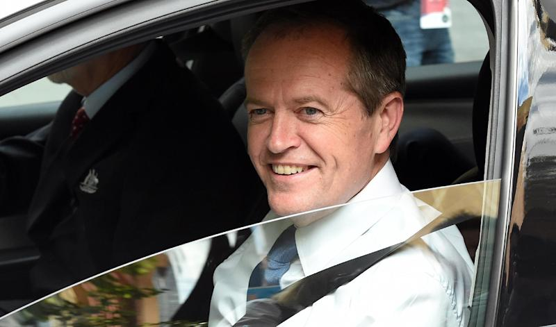 Australia's opposition leader Bill Shorten, whose Labour party's administration until Tony Abbott's election in 2013 was undermined by brutal internal warfare, leaves his office in Sydney on February 6, 2015 (AFP Photo/Saeed Khan)