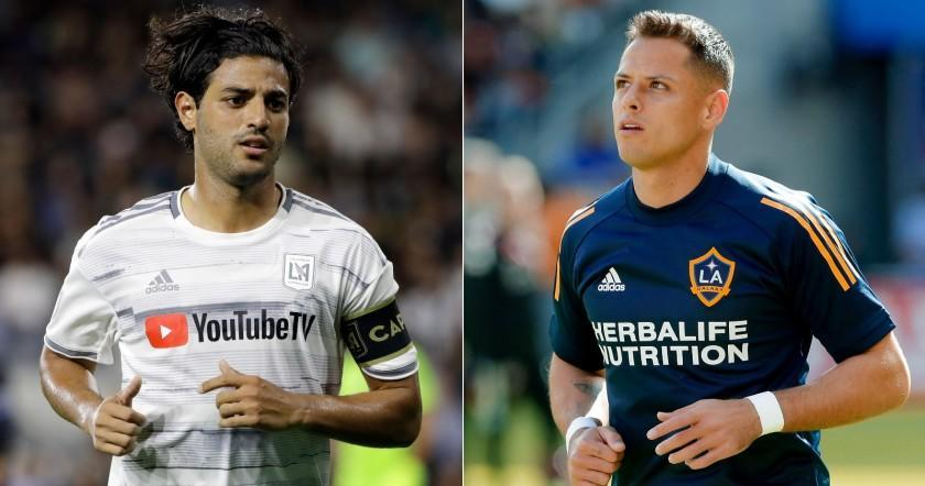 """A split-image photo of LAFC's Carlos Vela, left, and Galaxy's Javier """"Chicharito"""" Hernández"""