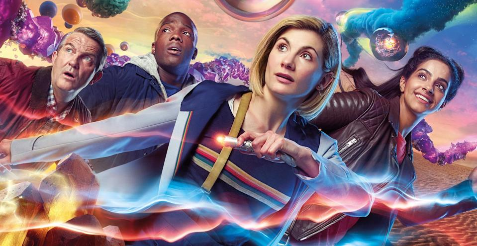 Graham (Bradley Walsh), Ryan (Tosin Cole), The Doctor (Jodie Whittaker), Yaz (Mandip Gill) in <i>Doctor Who</i> (BBC/Sophie Mutevelian)