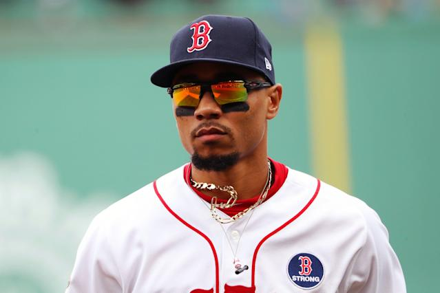 Mookie Betts isn't happy about his early-season performance. (Photo by Adam Glanzman/MLB Photos via Getty Images)