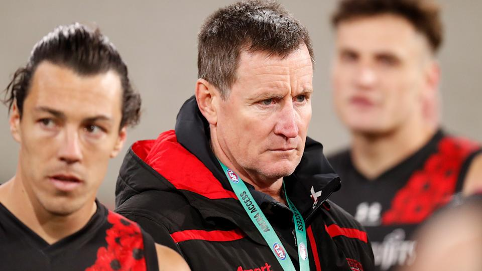 Essendon coach John Worsfold is pictured during an AFL game in 2020.