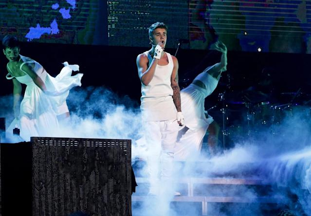 <p><strong>Who pays?</strong><br>Before embarking on a tour, most acts take out non-appearance insurance. This is to protect their income in case of a <em>force majeure</em>, serious accident or illness rendering them unable to perform.<br><br>(Justin Bieber performs during his world tour in Beijing, China, on Sept. 29, 2013. Canadian Press) </p>