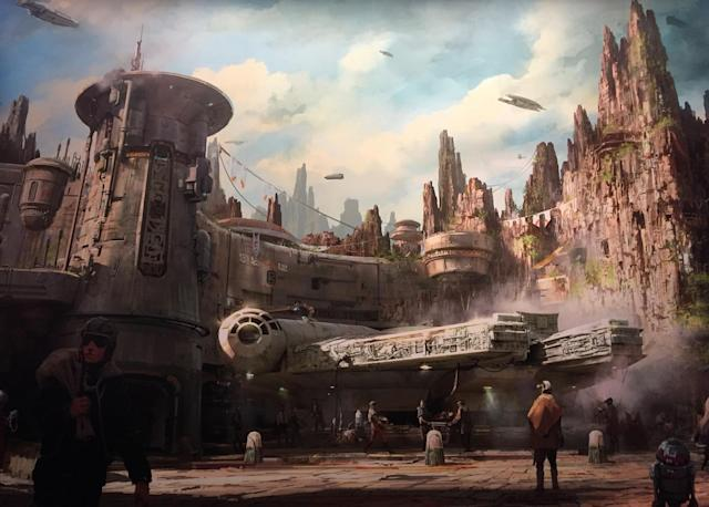 <p>Here's the concept art showing the <em>Falcon</em> area from the ground level. (Photo: Marcus Errico/Yahoo Movies) </p>