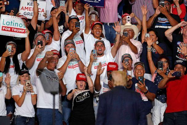 PHOTO: President Donald Trump is cheered by supporters upon his arrival to a campaign rally at the Santa Ana Star Center, Sept. 16, 2019, in Rio Rancho, N.M. (Andres Leighton/AP)