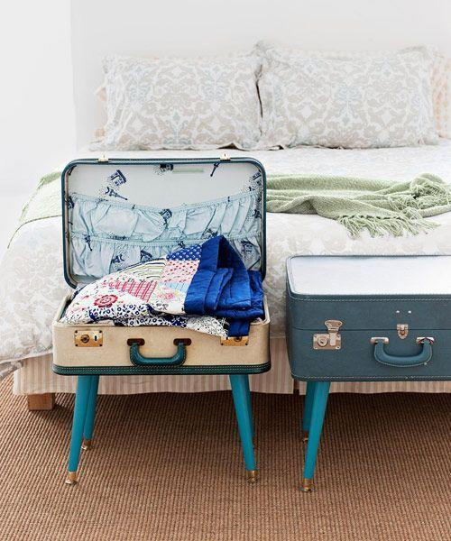 """<p>Give vintage luggage a new purpose with this three-step DIY. Use it as a nightstand or end table, and fill it with blankets, or books, or anything else you'd like to stash away. </p><p><em><a href=""""https://www.goodhousekeeping.com/home/craft-ideas/how-to/g1161/suitcase-table/?"""" rel=""""nofollow noopener"""" target=""""_blank"""" data-ylk=""""slk:Get the tutorial »"""" class=""""link rapid-noclick-resp"""">Get the tutorial »</a></em> </p>"""