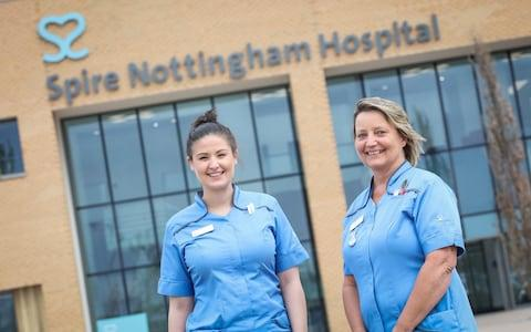 <span>Nurses outside the Spire Nottingham Hospital</span>