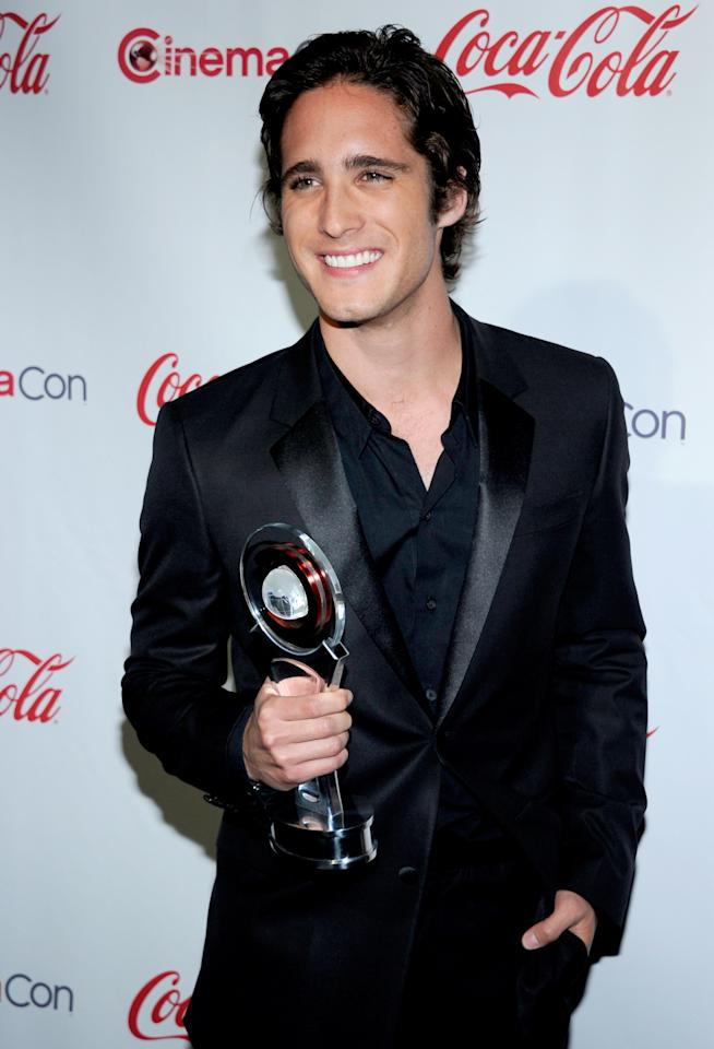 LAS VEGAS, NV - APRIL 26:  Actor Diego Boneta, recipient of the Rising Star of 2012 Award, arrives at the CinemaCon awards ceremony at the Pure Nightclub at Caesars Palace during CinemaCon, the official convention of the National Association of Theatre Owners April 26, 2012 in Las Vegas, Nevada.  (Photo by Ethan Miller/Getty Images)