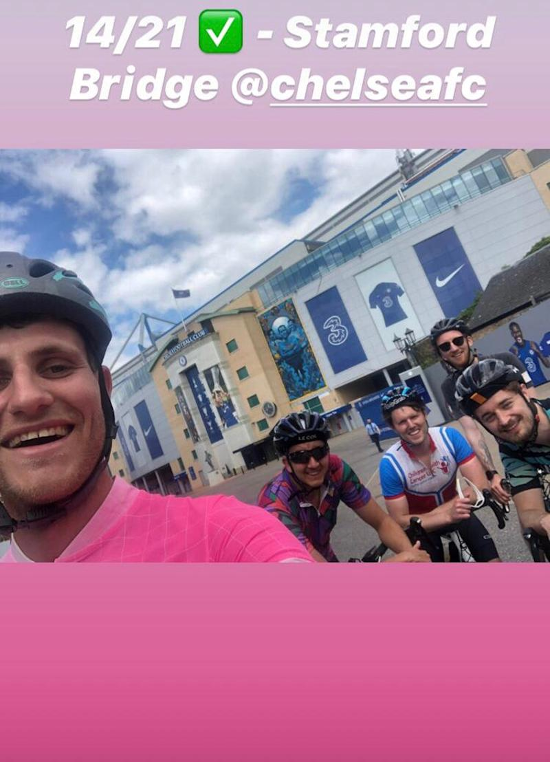 A group of five friends cycled to 21 London football grounds in one day