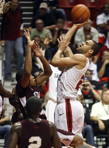 San Diego State forward JJ O'Brien, right, shoots over the Texas Southern defense during the first half of their NCAA college basketball game, Monday Dec. 3, 2012, in San Diego. (AP Photo/Lenny Ignelzi)