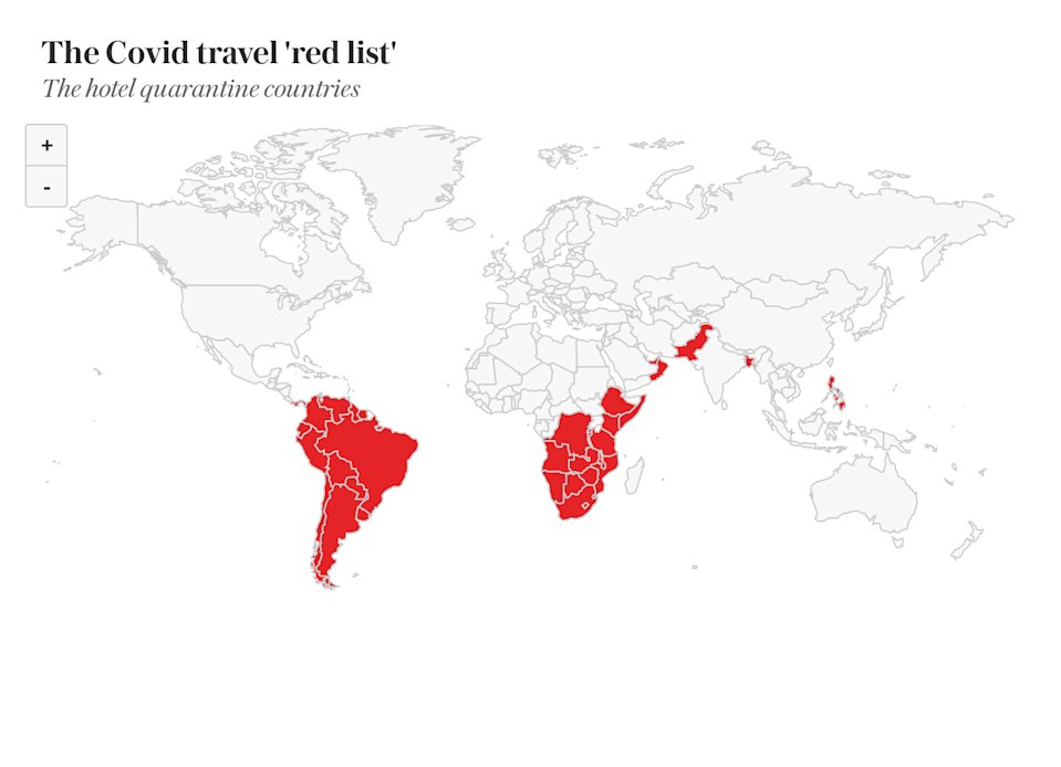 The 39 hotel quarantine 'red list' countries