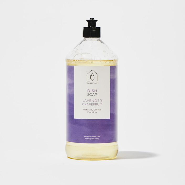 """<p><strong>Lavender Grapefruit Dish Soap, 34-oz.</strong></p><p>pur-home.com</p><p><strong>$12.00</strong></p><p><a href=""""https://pur-home.com/34-oz-dish-soap/"""" rel=""""nofollow noopener"""" target=""""_blank"""" data-ylk=""""slk:BUY NOW"""" class=""""link rapid-noclick-resp"""">BUY NOW</a></p><p>Having a squeaky clean kitchen is one of the best feelings in the world, and <a href=""""https://pur-home.com/"""" rel=""""nofollow noopener"""" target=""""_blank"""" data-ylk=""""slk:PUR Home"""" class=""""link rapid-noclick-resp"""">PUR Home</a> is one of the best brands you can use to make that happen. Their non-toxic, plant-powered products are tough on messes, but skip harsh chemicals and irritating dyes. With everything from <a href=""""https://pur-home.com/all-purpose-bar/"""" rel=""""nofollow noopener"""" target=""""_blank"""" data-ylk=""""slk:waste-free soap bars"""" class=""""link rapid-noclick-resp"""">waste-free soap bars</a> to dish detergent and <a href=""""https://pur-home.com/34-oz-multi-surface-cleaner/"""" rel=""""nofollow noopener"""" target=""""_blank"""" data-ylk=""""slk:countertop cleaners"""" class=""""link rapid-noclick-resp"""">countertop cleaners</a>, it's your one-stop shop for a clean house.</p>"""