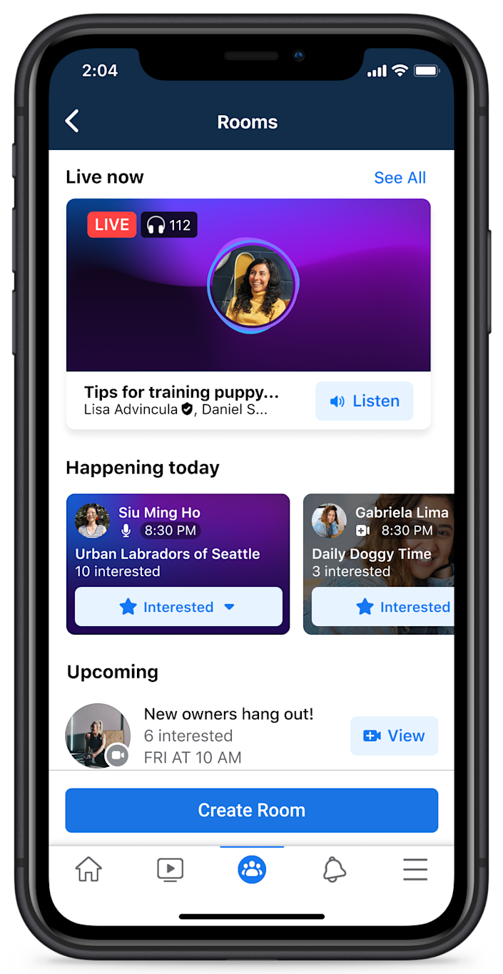 Public figures and select Facebook groups in the U.S. can create Live Audio Rooms on iOS.