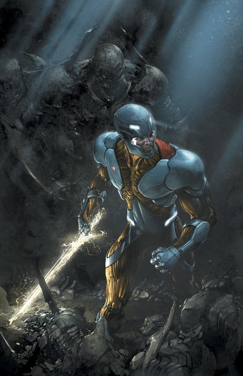 """This comic image released by Valiant Entertainment shows an image from X-O Manowar #11. Valiant Comics is promising an explosive new story in the pages of its flagship book, """"X-O Manowar."""" The story begins January with a two-issue prelude in issues 9 and 10.  (AP Photo/Valiant Entertainment)"""