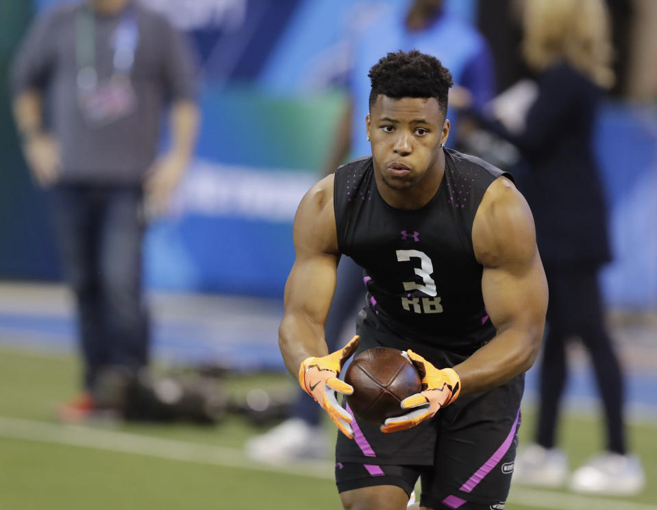 Penn State running back Saquon Barkley's chances of going to the Browns seemed to diminish with the team signing Carlos Hyde. (AP)