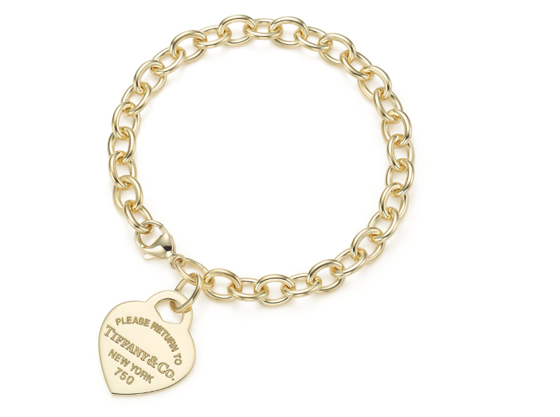 Return to Tiffany Medium Heart Tag Bracelet in 18k Gold, $3,700 (Photo: Tiffany & Co.)
