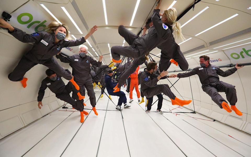 Participants experiencing weightlessness