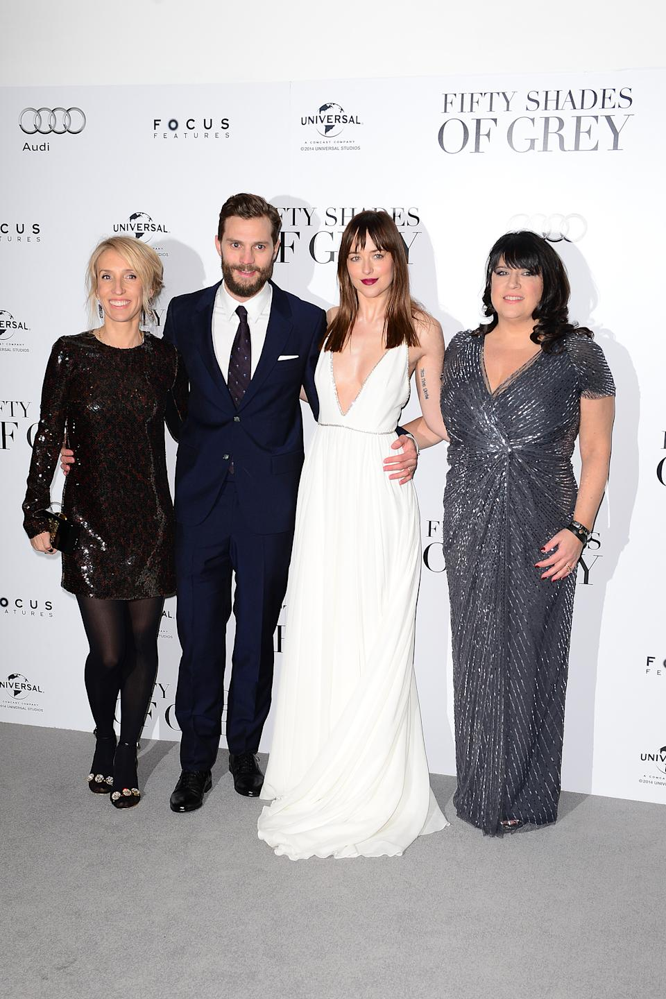 Sam Taylor Johnson, Jamie Dornan, Dakota Johnson and E L James attending the UK premiere of Fifty Shades of Grey at the Odeon Leicester Square, London. PRESS ASSOCIATION Photo. Picture date: Thursday February 12, 2015. See PA story SHOWBIZ Fifty. Photo credit should read: Dominic Lipinski/PA Wire