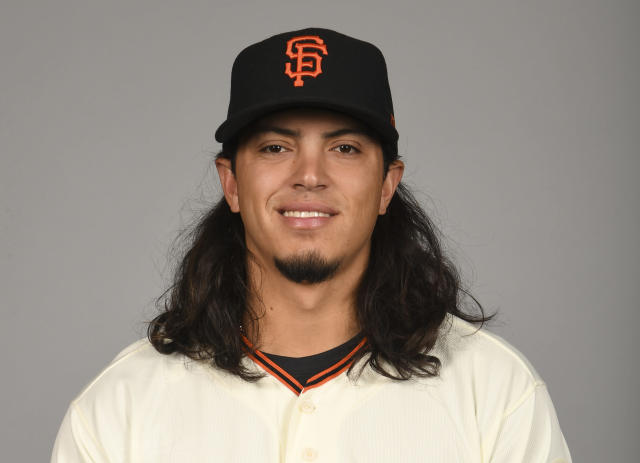 Dereck Rodriguez, son of Ivan Rodriguez, is being called up by the Giants. (Photo by Robert Binder/MLB Photos via Getty Images)