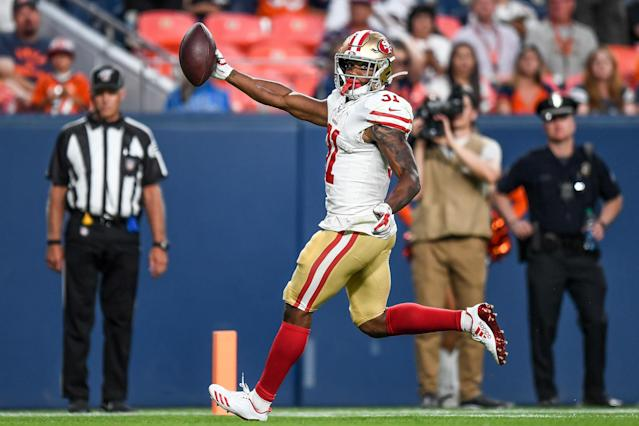 Raheem Mostert of the San Francisco 49ers paid tribute to his agent's family on Monday night. (Getty Images)