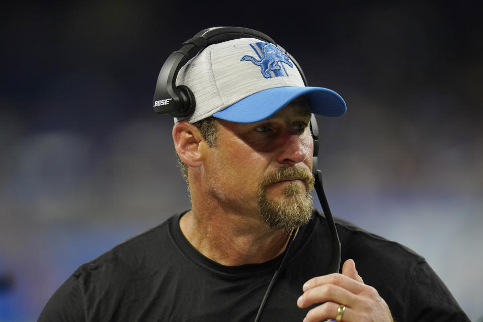 Detroit Lions head coach Dan Campbell watches from the sidelines during the second half of a preseason NFL football game against the Buffalo Bills, Friday, Aug. 13, 2021, in Detroit. (AP Photo/Paul Sancya)