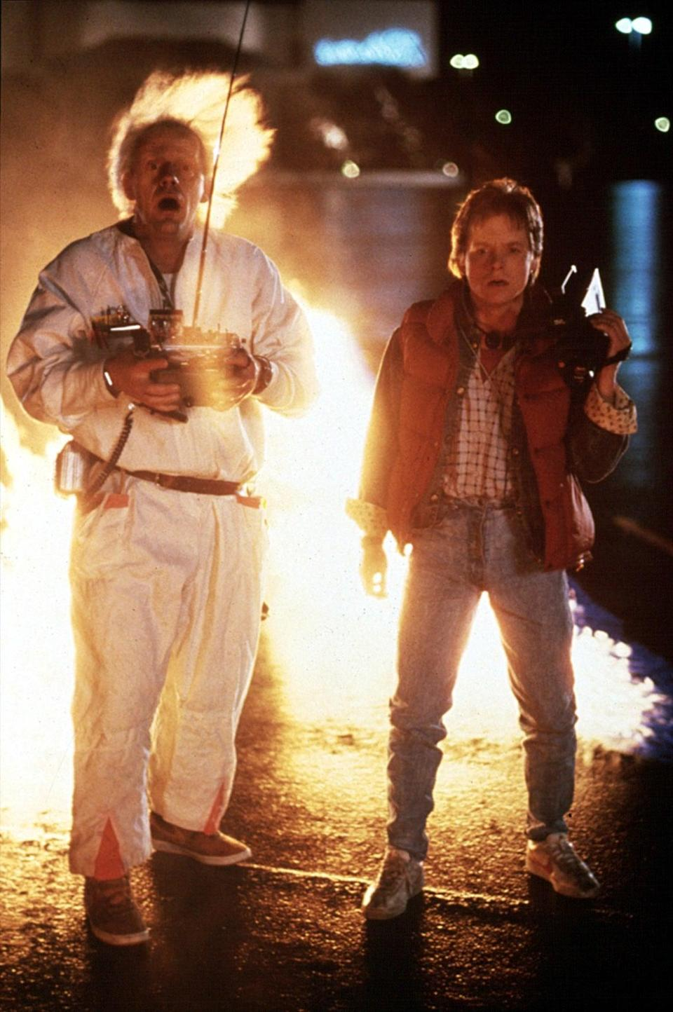 <ul> <li><strong>What to wear for Marty:</strong> You need that signature red puffy vest and jeans.</li> <li><strong>What to wear for Doc:</strong> Just sports a white jumpsuit and crazy white hair.</li> </ul>