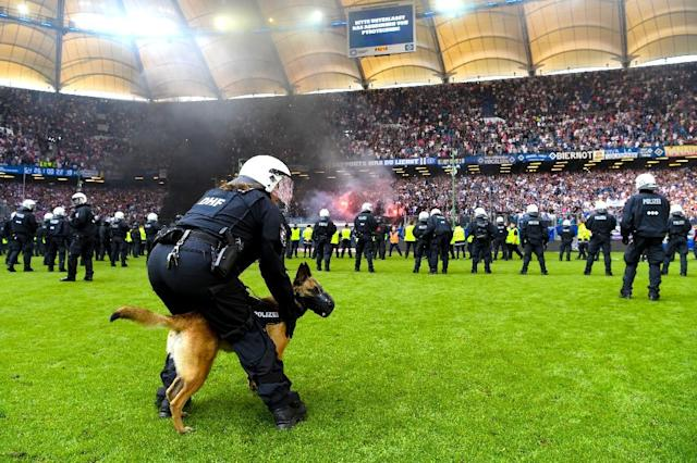 Police were forced to delay Hamburg's match with two minutes remaining when fans threw fireworks onto the pitch (AFP Photo/Patrik STOLLARZ)