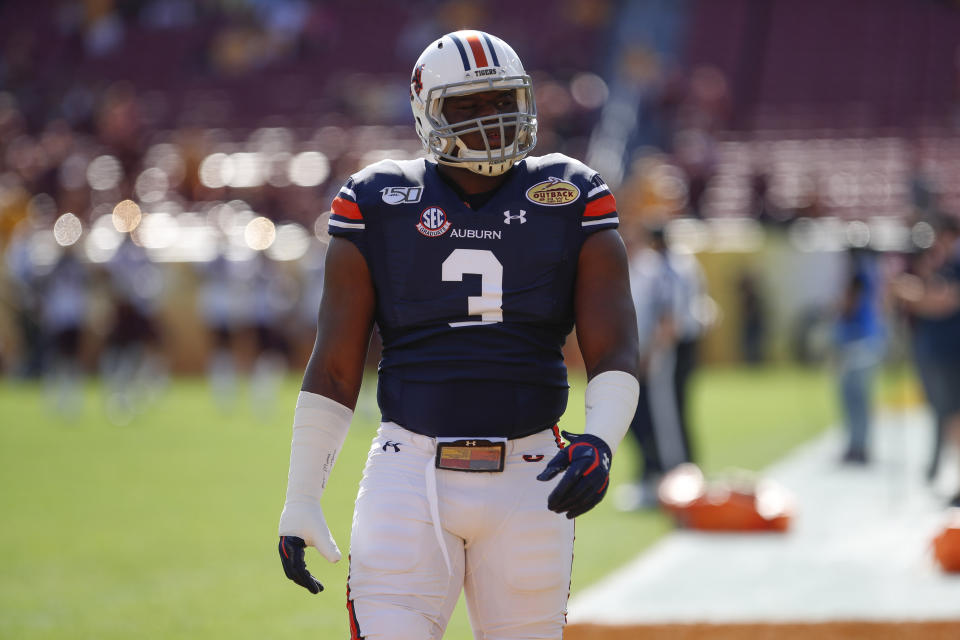 Auburn defensive end Marlon Davidson during the Outback Bowl against Minnesota on Jan. 1, 2020 at Raymond James Stadium in Tampa, Florida. (Photo by Mark LoMoglio/Icon Sportswire via Getty Images)