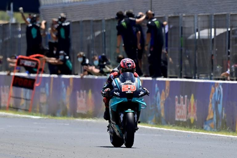Quartararo crossing the line at Jerez last season for his first MotoGP win
