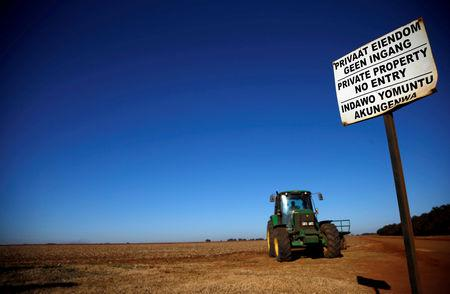 FILE PHOTO: A 'No entry sign' is seen at an entrance of a farm outside Witbank, Mpumalanga province