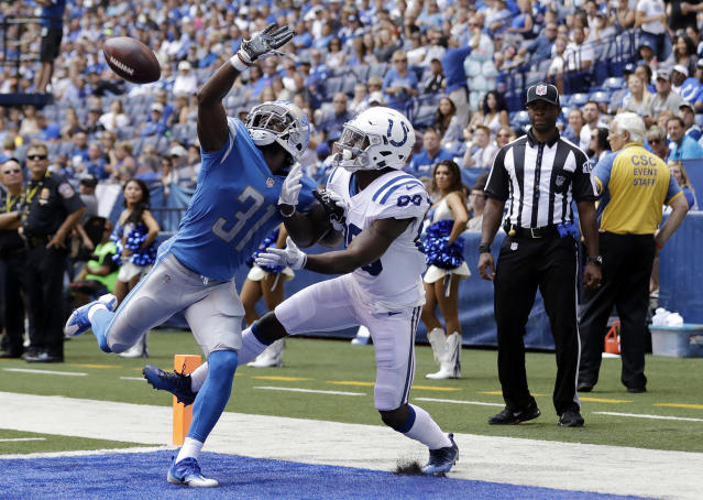 FILE - In this Aug. 13, 2017, file photo, Detroit Lions defensive back D.J. Hayden (31) breaks up a pass intended for Indianapolis Colts wide receiver Chester Rogers during the first half of an NFL preseason football game, in Indianapolis. A person familiar with negotiations says the Jacksonville Jaguars have agreed to a contract with free-agent cornerback D.J. Hayden. Hayden will sign a three-year deal Thursday, March 15, 2018, the person said. The person spoke to The Associated Press on the condition of anonymity Wednesday because NFL teams are prohibited from announcing signings until free agency officially begins Wednesday afternoon.(AP Photo/Darron Cummings, File)