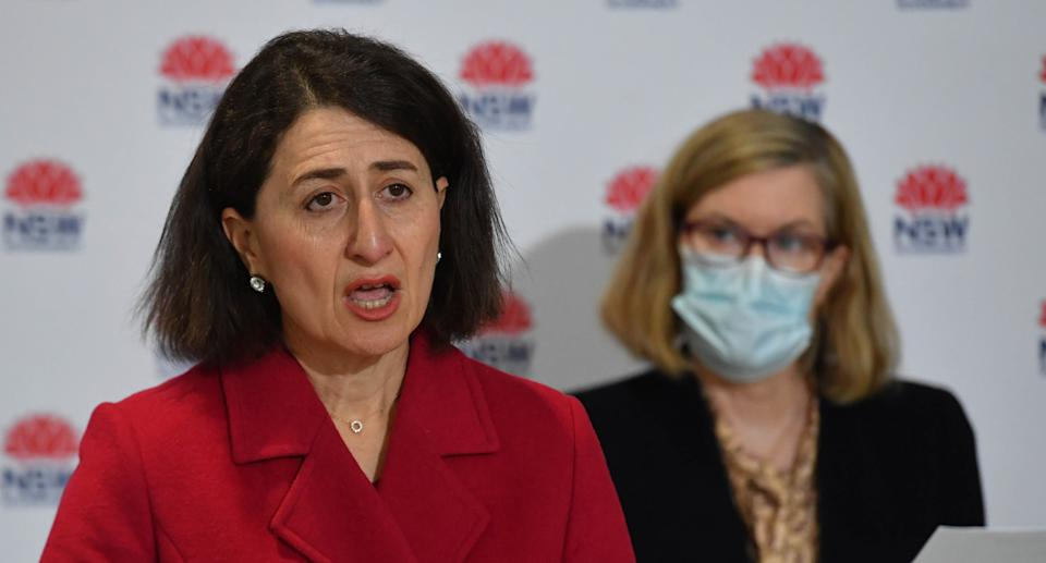NSW Premier Gladys Berejiklian and Chief Health Officer Dr Kerry Chant at a press conference to provide a COVID-19 update in Sydney, Friday, July 23, 2021. Source: AAP