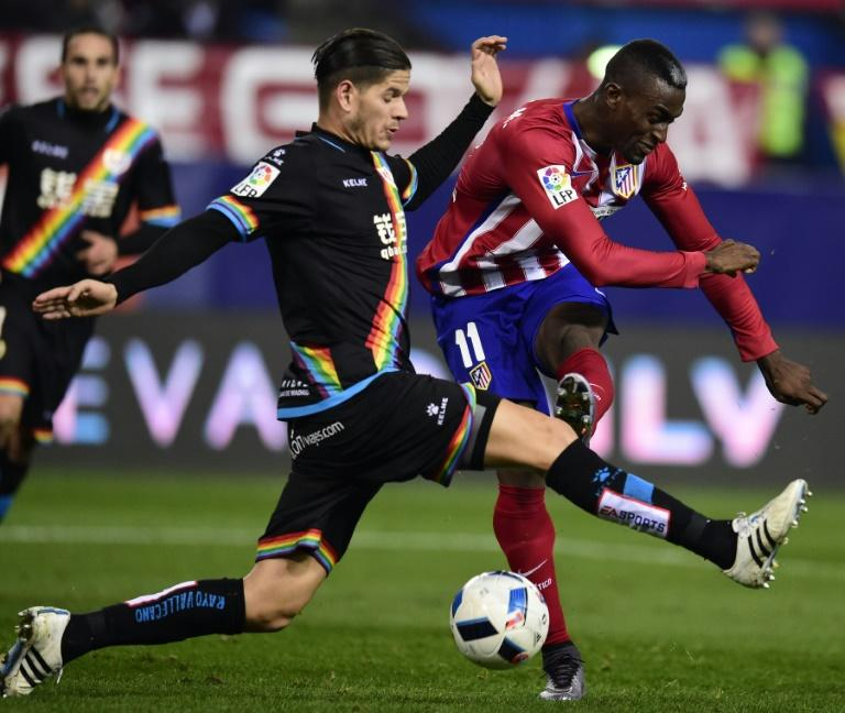One of the shirts worn by players of Madrid's Rayo Vallecano, now in Spain's second division, sports a rainbow-coloured strip to fight discrimination