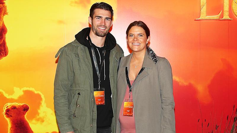 Western Bulldogs player Easton Wood and his wife Tiffany attend The Lion King Melbourne special event screeningin July, 2019. (Photo by Graham Denholm/Getty Images for Disney)