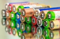 """It's pivotal to check what kind of batteries you're tossing before throwing them in your bin. According to the U.S. Department of Agriculture (USDA) Forest Service, <a href=""""https://www.fs.fed.us/eng/toolbox/haz/haz21.htm"""" rel=""""nofollow noopener"""" target=""""_blank"""" data-ylk=""""slk:rechargeable batteries"""" class=""""link rapid-noclick-resp"""">rechargeable batteries</a> containing nickel-cadmium and lead-acid need to be brought to special facilities. (You can find a list of suitable <a href=""""https://earth911.com/"""" rel=""""nofollow noopener"""" target=""""_blank"""" data-ylk=""""slk:recycling facilities"""" class=""""link rapid-noclick-resp"""">recycling facilities</a> here.) Otherwise, """"regular alkaline, manganese, and carbon-zinc batteries are not considered hazardous waste and can be disposed of with ordinary trash,"""" according to the USDA."""