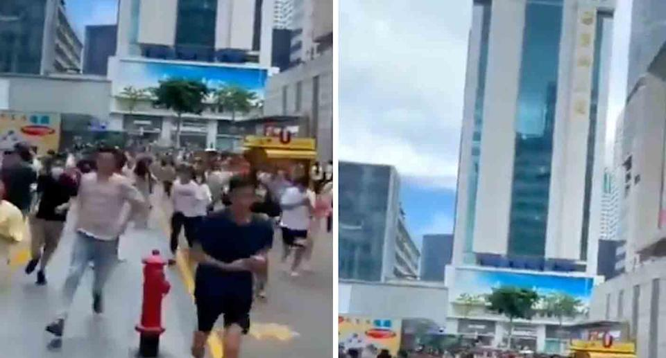 Hundreds of people are seeing fleeing from the SEG Plaza (left) in Shenzhen, China after it is seen swaying (right).