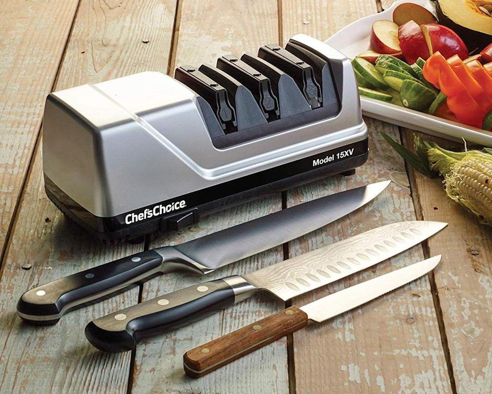 This knife sharpener will help you chop through vegetables like butter. (Photo: Amazon)
