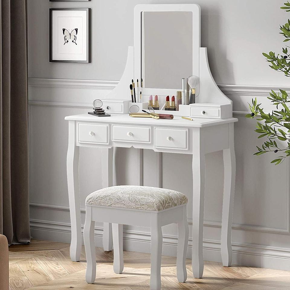 <p>This <span>Sha Cerlin Vanity Table Set</span> ($110) will look clean and minimal, wherever you put it. </p>