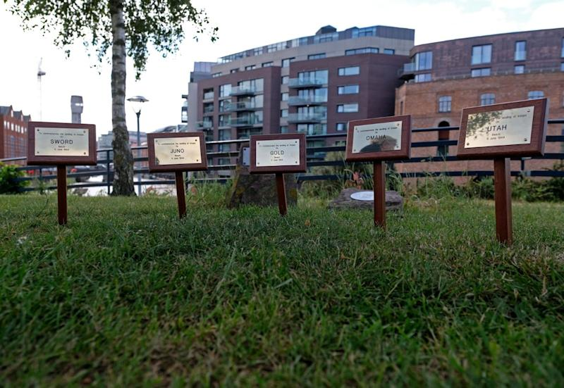 The plaques were unveiled at Castle Park on June 6 to mark the 75th anniversary of the Normandy beach landings (SWNS)