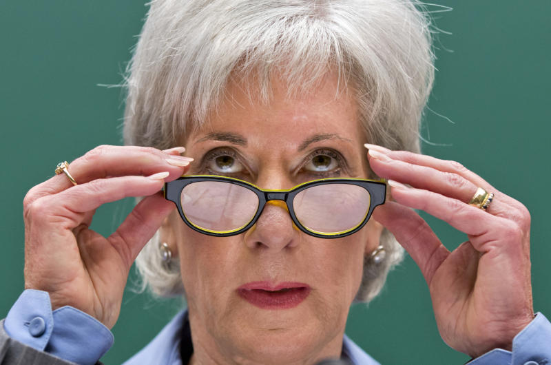 """FILE - In this Oct. 30, 2013 file photo, Health and Human Services Secretary Kathleen Sebelius testifies on Capitol Hill in Washington. Don't make things worse. That's the advice of former U.S. health secretaries of both parties to President Donald Trump and the GOP-led Congress, now that """"Obamacare"""" seems here for the foreseeable future. The 2018 sign-up season for subsidized private health plans starts Nov. 1, with about 10 million people currently being served through HealthCare.gov and its state counterparts. (AP Photo/J. Scott Applewhite, File)"""