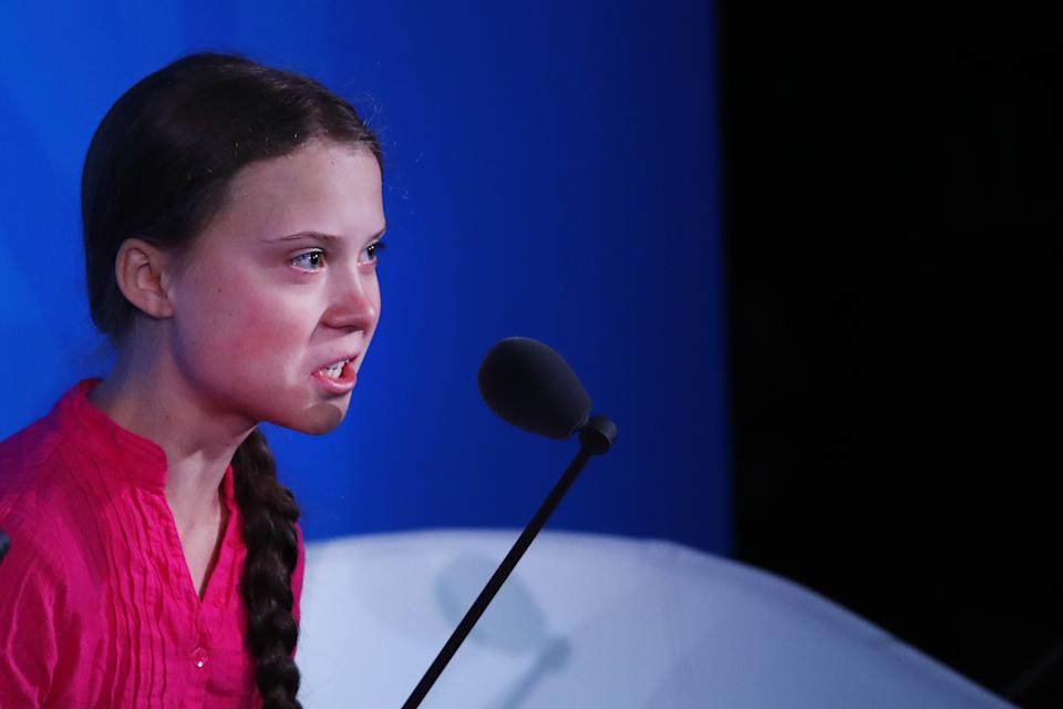 Pictured: Greta Thunberg speaks at the United Nations. (Photo by Spencer Platt/Getty Images)