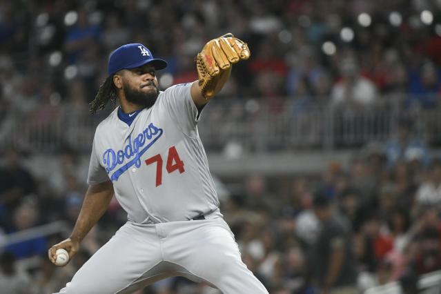 FILE - In this Friday, July 27, 2018, file photo, Los Angeles Dodgers relief pitcher Kenley Jansen (74) works against the Atlanta Braves during a baseball game in Atlanta. Out since Thursday, Aug. 9, with an irregular heartbeat, Jansen expects to have a second heart surgery in the offseason but is confident hell be able to come off the disabled list within the next few weeks. (AP Photo/John Amis, File)