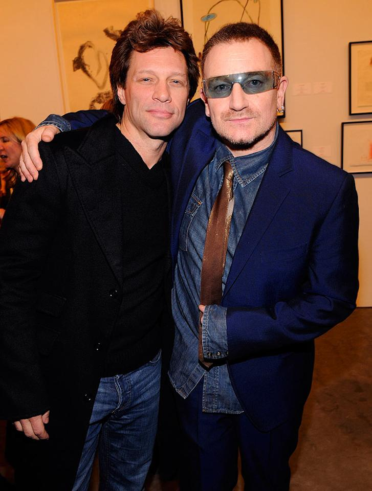 "Jon Bon Jovi and Bono attend the (RED) auction in New York. The U2 frontman started the (PRODUCT)RED campaign to raise money for The Global Fund to Fight AIDS, Tuberculosis, and Malaria. Kevin Mazur/<a href=""http://www.wireimage.com"" target=""new"">WireImage.com</a> - February 13, 2008"