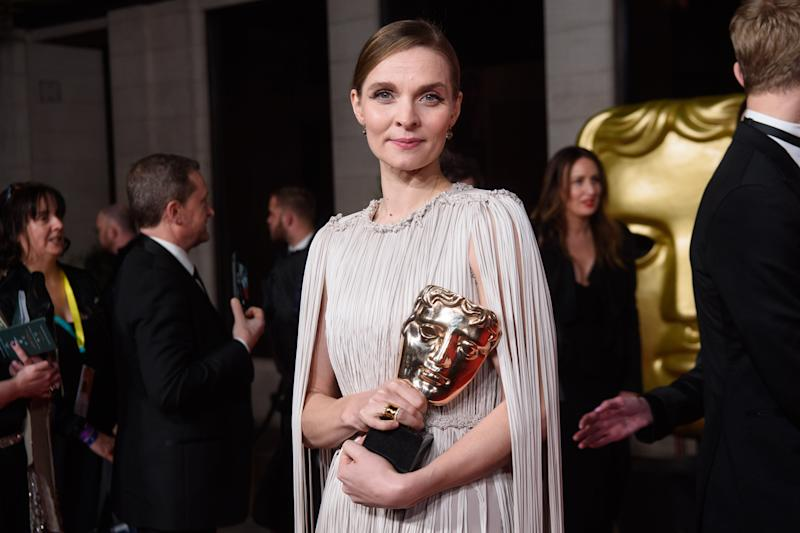 Hildur Guonadottir with her Best Original Score Bafta award attending the after show party for the 73rd British Academy Film Awards. (Photo by Matt Crossick/PA Images via Getty Images)