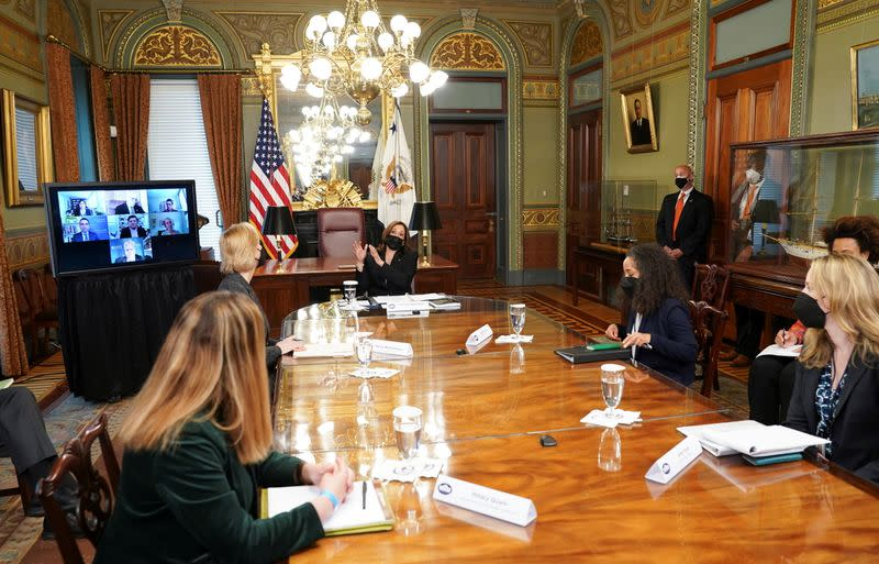 Vice President Harris convenes a virtual roundtable of experts on the Northern Triangle at the White House in Washington