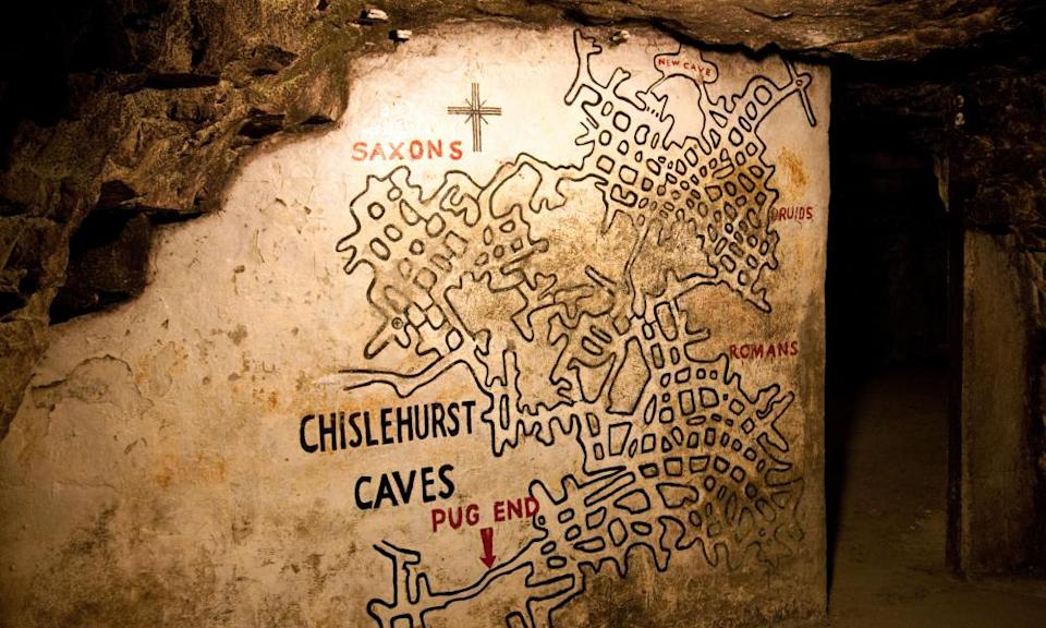 The map of the caves at the entrance, Chislehurst Caves,